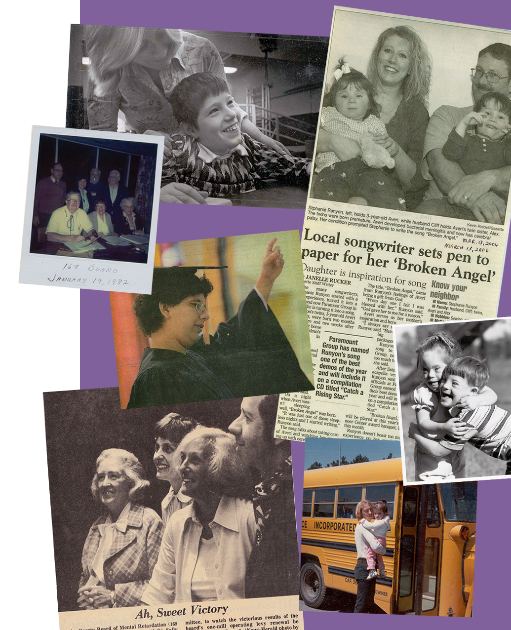 Newspaper clippings and photo collage